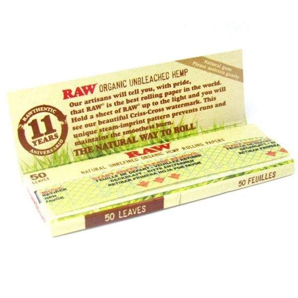RAW Organic Hemp Natural Unrefined Rolling Papers 1 1/4