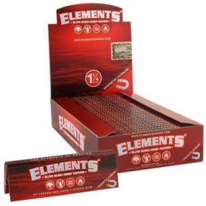 Elements Red Slow Burning Hemp Rolling Papers w:Magnet 1 1/4