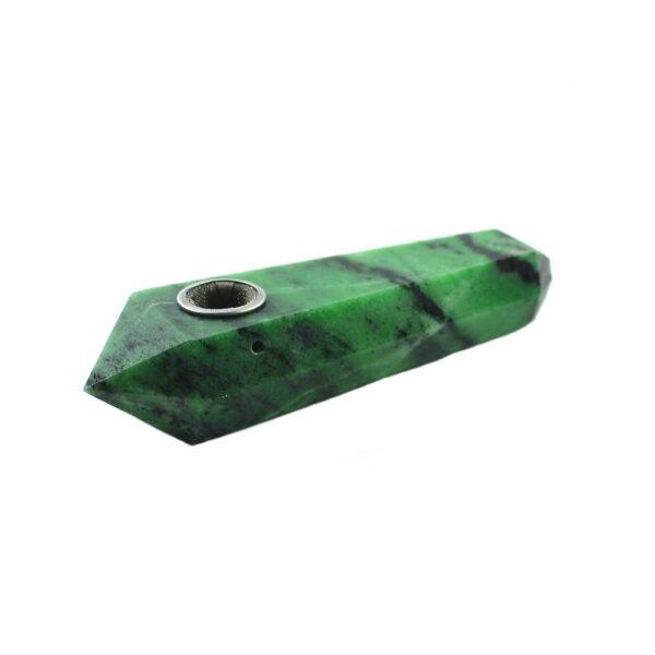 Green Epidote Crystal Wand Pipe